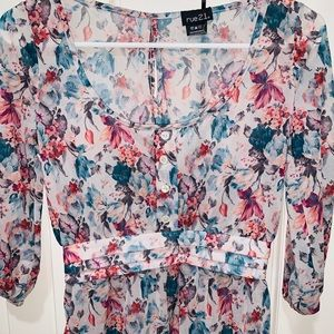Rue21 Blue Floral Blouse (Small)